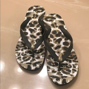 Tommy BAHAMA leopard wedge Sandals with pineapple